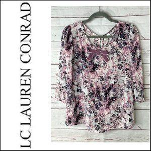 LC Lauren Conrad Sheer Floral Print Blouse Size L